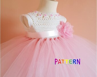 crochet tutu dress pattern, tutu dress pattern, crochet yoke dress pattern (sizes 9-12 months to 8 years old), baby crochet dress pattern