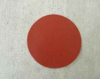 large round 6,5 cm thin leather, orange clay creation and customization