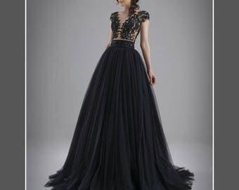 Black wedding dress, Tulle black wedding dress