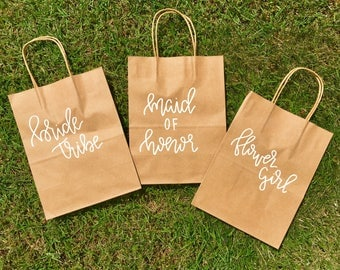 Bridal Party BAGS | bridesmaid and bachelorette gifts | Thank you bag | wedding hotel welcome bag | custom kraft bags | kraft bags