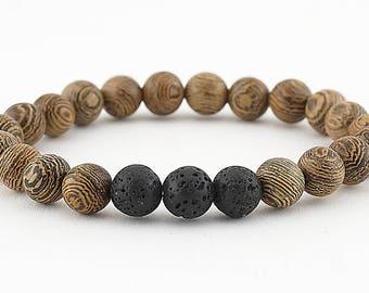 lava bead bracelet, essential oil, diffuser bracelet, stretch bracelet, essential oil bracelet, jewelry, aromatherapy, yoga, boho, wood