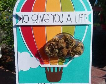 Hot Air Balloon Lift - Encouragement Cannabis Greeting Card