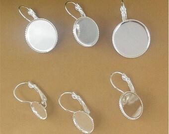 50pcs 10-20mm Silver Plated Round Brass Earring Blanks Cabochon Settings Bezel Earrings Earring Components Light Coat Jewelry