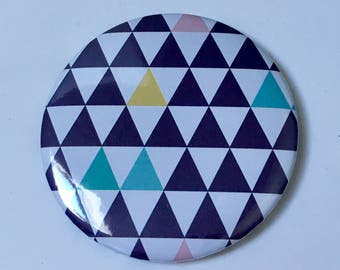 Decorated Pocket mirror size 58 - Navy blue colors Scandinavian design