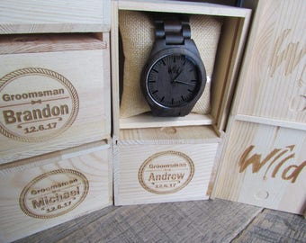 Set of 4 Groomsmen watches, Wood Watch, personalized men watch, best man watch, Groomsmen gift, groomsman watch, company gift, wedding gift.