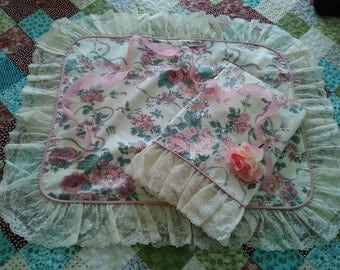 RESERVED FOR CHERYL Vintage Victoria Crosgill Elizabeth Gray Ruffled Lace Pillow Sham *Reserved*