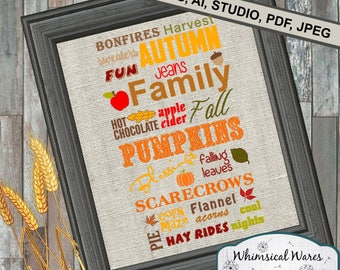 Autumn Fall Pumpkins Scarecrow Blessings Harvest  .studio3 file svg eps ai pdf files all included