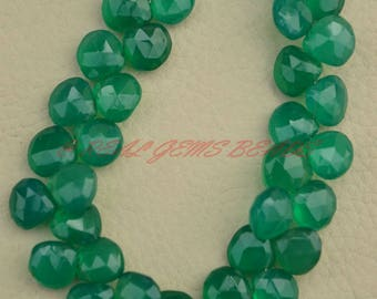 Green Onyx Heart Beads, Natural Green Onyx Faceted Heart Briolettes, 10 MM, Green Onyx Gemstone Beads, AAA Quality, 8 Inch Strand
