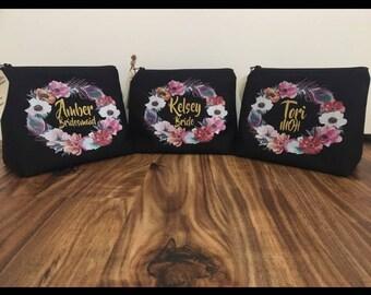 Black custom or personalized makeup bag, toiletry bag, cosmetic bag