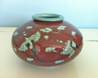Asian Flying Cranes Porcelain Vase/Bird Vase/Asian Bird Vase/Crane Decor/Bird Decor/Porcelain Asian Vase/Vintage Chinese Vase/Japanese Vase