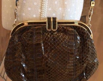 Vintage Jane Shilton snake skin hand shoulder bag brown