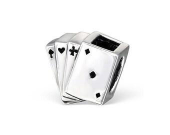 Silver Playing Cards Charm Bead, fits Pandora Bracelets