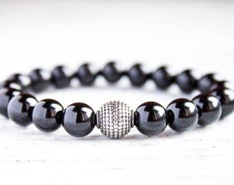 Mens Black Beads Bracelet Dad Bracelet Charcoal Black Boyfriend Bracelet Black Minimalism Men Black Gemstones Onyx Bracelet Brother Bracelet