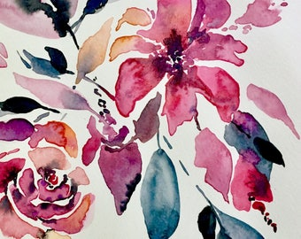 Watercolour Wildflowers & Pink Roses