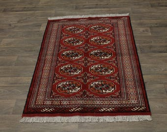 Excellent Medium Tribal Red Turkoman Persian Area Rug Oriental Carpet 3'4X5'4