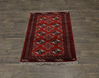 Top Quality Handmade Tribal Red Turkoman Persia Area Rug Oriental Carpet 3ʹ4X5