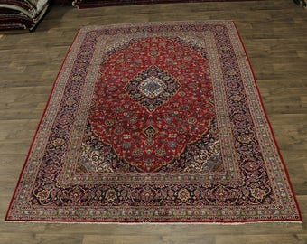 Lovely Traditional Handmade Red Kashan Persian Rug Oriental Area Carpet 8X12
