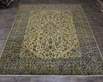 S Antique Gold-Washed Traditional Mashad Persian Rug Oriental Area Carpet 10X12