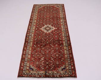 Handmade Tribal Runner Hossainabad Hamedan Persian Rug Oriental Area Carpet 4X10