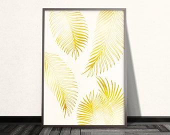 Gold Palm Leaf Print Gold Palm Leaf Art Gold Wall Art Gold Prints Yellow Print Gold Palm Leaf Wall Art Gold Decor Tropical Print Yellow Art