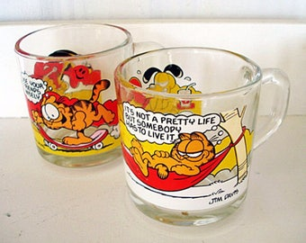 Vintage Garfield and Odie Glasses 1978