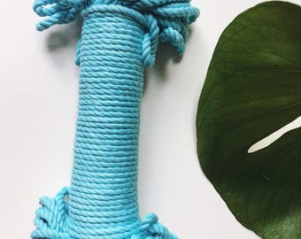TURQUOISE Natural cotton rope, three strand twisted cotton rope, cotton rope
