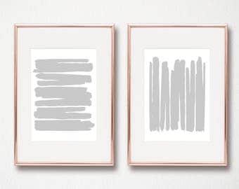 Grey Abstract Art - Grey Lines Set of 2 digital art prints wall art printables 8x10 and 11x14 grey modern art minimalist art Scandinavian