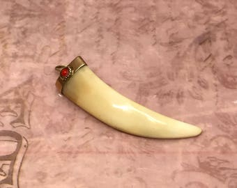 Antique Fang Tooth in 18K Cap with Coral Gem stone