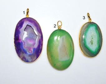 1 Piece Agate Druzy Geode Slice Electroplated Edge - Agate Druzy 24k Gold Plated Pendant , 58 - 70 mm , AH342 (You Choose)