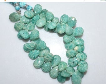 50% OFF 1 Strand Amazonite Faceted Pear Shape Beads - Amazonite Briolette , 12x9.5 - 13.5x9.5 mm , 7.5 Inch Strand , BL1765