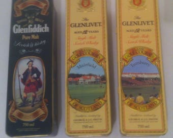 3 Vintage 1980's Glenlivet Scotch Whiskey, Metal Tin Can, Alcohol, Bar Decor, Collectible Tins, 12 1/2 x 3 1/2 x 3 1/2 (e)