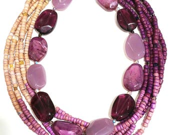 Lot of two redesigned vintage purple necklaces