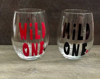 Wild One and Mild One Wine Glass Set. Best Friend Wine Glass Set. Funny Best Friend Wine Glasses. Best Friend Wine Glass Gift Set.