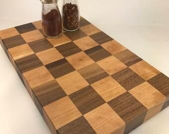 Checker Board Style Butcher Block / Walnut and Cherry / Straight Grain