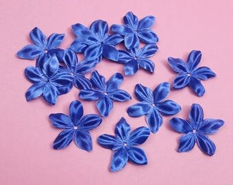 Flower Silk Satin Royal Blue for jewelry, scrapbooking, card making, sewing individually