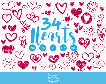 Hand Drawn Heart Clipart, Heart SVG Bundle, SVG Heart, Heart EPS, Heart Png, Heart Dxf, Heart Ai, Heart Jpg, Heart Doodles, Design Elements