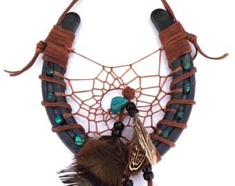 Cowboy Horseshoe Art / Horseshoe Dream Catcher / Painted Feathers / Handmade / Real Turquoise Stones / OOAK / Western Wall Hanging