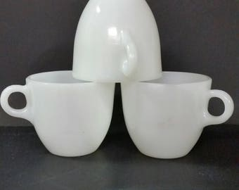 Vintage Fire-King milk glass coffee cups. O handle.  Set of 3