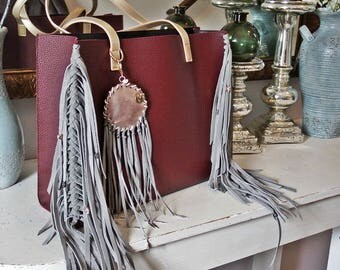 Bohemian Burgundy Tote with Gray Braided Fringe