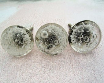 Clear Glass Drawer Knobs with bubbles Drawer Pull Wardrobe Pull Cupboard Handle