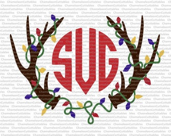 Antlers for Monogram, SVG, eps, png, jpeg, dxf, vector, cut file, digital download