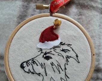 Christmas tree decoration, custom dog portraits, pet portrait, christmas dog