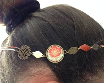 Head band bronze, enamel and orange Japanese paper.