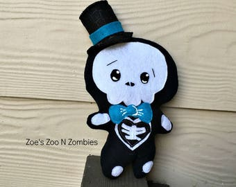 Handmade Skelly Man  Softie Skeleton Man  Day of the Dead Doll