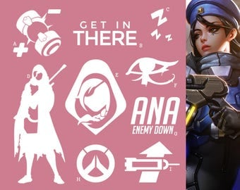 Ana Overwatch Support Hero | Vinyl Decal Sticker, Overwatch, Blizzard, Gaming, 17 Colors, Oracle Long Lasting | SneakyStickers