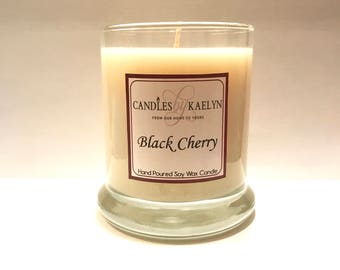 Black Cherry Soy Wax Candle - Soy Candles Handmade-Clean Burning - Gifts For Her - 10oz Jar