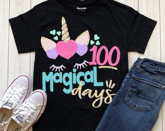 unicorn svg, 100 magical days svg, school, 100 days, SVG, DXF, EPS, 100 days svg, 100th day of school svg, 100 days shirt, girls svg, shirt