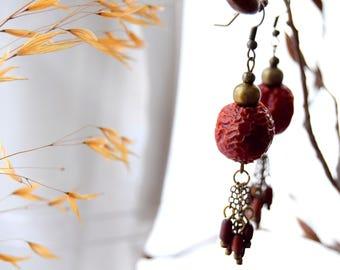 Earrings of Rosehip ,Wood and Metal