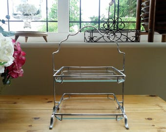 Vintage Metal & Glass Two Tier 1940s Cake Stand