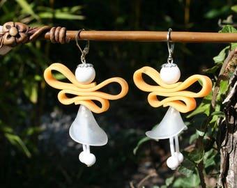 Boucles d'oreilles fée orange et blanche - Perle de jade et silicone - Arum